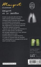 Maigret et le fantôme - 4ème de couverture - Format classique