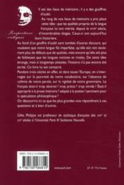 Le français, dernière des langues ; histoire d'un procès littéraire - 4ème de couverture - Format classique