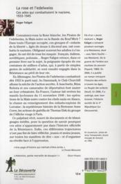 La rose et l'edelweiss ; ces ados qui combattaient le nazisme / 1933-1945 - 4ème de couverture - Format classique