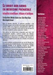 Le droit aux soins comme droit de l'homme en médecine prénatale (édition 2011) - 4ème de couverture - Format classique