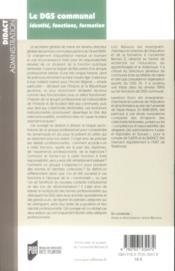 Le DGS communal ; identité, fonctions, formation - 4ème de couverture - Format classique