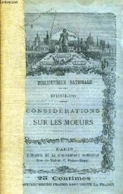 Considerations Sur Les Moeurs. - Couverture - Format classique