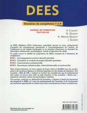 Dees ; diplôme d'Etat d'éducateur spécialisée ; dc 1 à 4 - 4ème de couverture - Format classique