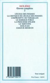 Oeuvres complètes t.2 - 4ème de couverture - Format classique