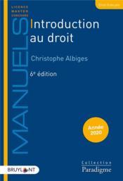 Introduction au droit (édition 2020) - Couverture - Format classique