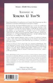 Testament de Tchicaya U Tam'Si - 4ème de couverture - Format classique