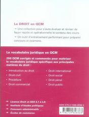 Le vocabulaire juridique en qcm - 4ème de couverture - Format classique