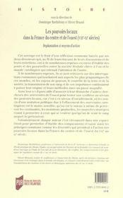 Les pouvoirs locaux dans la france du centre et de l'ouest, viiie-xie siecles implantation et moyens - 4ème de couverture - Format classique