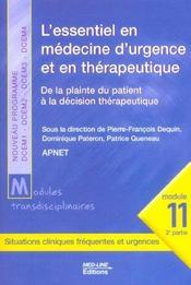 L'essentiel en médecine d'urgence et thérapeutique ; de la plainte du patient à la décision thérapeutique - Intérieur - Format classique