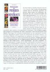 Dictionnaire des pierres et mineraux - 4ème de couverture - Format classique