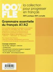 100% FLE ; grammaire essentielle du français a1/a2 - 4ème de couverture - Format classique