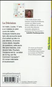 La décision - 4ème de couverture - Format classique