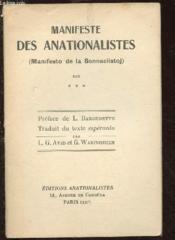 Manifeste Des Anationalistes - Couverture - Format classique