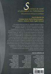 Systèmes de santé et circulation de l'information ; encadrement éthique et juridique - 4ème de couverture - Format classique