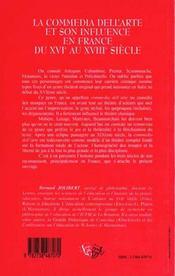 La Comedia Dell'Arte Et Son Influence En France Du Xvie Au Xviiie Siecle - 4ème de couverture - Format classique