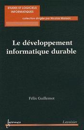 Le développement informatique durable - Couverture - Format classique