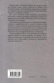 Innovation politique 2011 - 4ème de couverture - Format classique