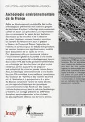 Archéologie environnementale de la France - 4ème de couverture - Format classique