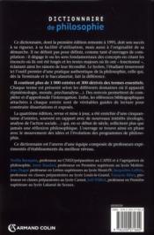 Dictionnaire de philosophie (4e édition) - 4ème de couverture - Format classique