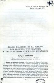 Phases Relatives De La Flexion Des Branches D'Un Diapason Et De La Pression Sonore Qui En Resulte - Couverture - Format classique