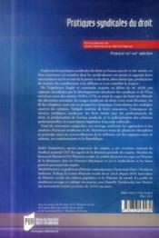 Pratiques syndicales du droit ; France XXe-XXIe siècles - 4ème de couverture - Format classique