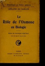 Le Role De L'Osmose En Biologie - Essai De Physique Vegetale - Couverture - Format classique