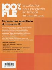 100% FLE ; grammaire essentielle du français ; b1 (édition 2015) - 4ème de couverture - Format classique