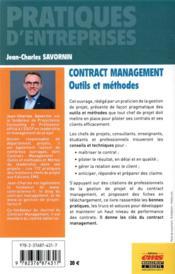 Contract management ; outils et méthodes (2e édition) - 4ème de couverture - Format classique