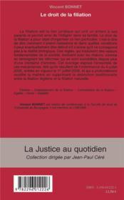 Le droit de la filiation - 4ème de couverture - Format classique