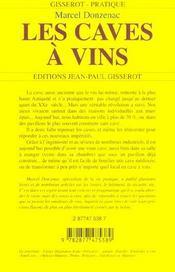 Les Caves A Vins - 4ème de couverture - Format classique