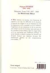 Mémoires t.8 (1837-1840) ; le ministère Molé - 4ème de couverture - Format classique
