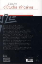Cahiers d'études africaines N.207 - 4ème de couverture - Format classique