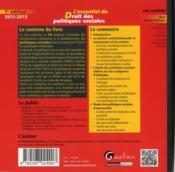 L'essentiel du droit des politiques sociales (7e édition) - 4ème de couverture - Format classique