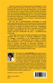 Comprendre les investissements au Sénégal ; entre subsistance, profit, paraître et consentement social - 4ème de couverture - Format classique