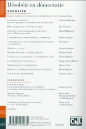 Revue Pouvoirs N.155 ; Désobéir En Démocratie - 4ème de couverture - Format classique