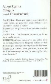 Caligula ; le malentendu - 4ème de couverture - Format classique