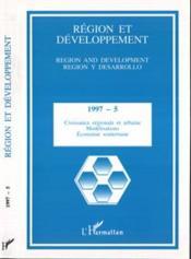 REGION ET DEVELOPPEMENT T.5 ; croissance régionale et urbaine, modélisations, économie urbaine - Couverture - Format classique