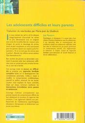 Les adolescents difficiels et leurs parents - 4ème de couverture - Format classique