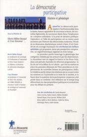 La démocratie participative - 4ème de couverture - Format classique
