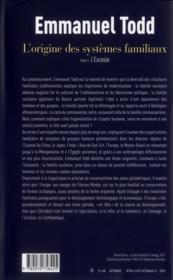 L'origine des systèmes familiaux t.1 ; l'Eurasie - 4ème de couverture - Format classique