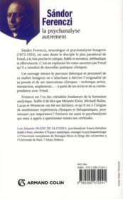 Sandor Ferenczi ; la psychanalyse autremenent - 4ème de couverture - Format classique