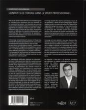 Contrat de travail du sportif - 4ème de couverture - Format classique