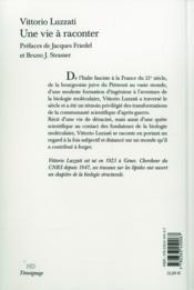 Une Vie A Raconter - 4ème de couverture - Format classique