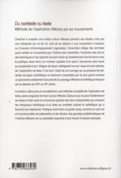 Du Contexte Au Texte Methode De L'Explication Litteraire Par Les Mouvements - 4ème de couverture - Format classique