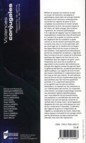 Violences conjugales ; rapports de genre, rapports de force - 4ème de couverture - Format classique