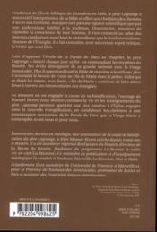 Pere Lagrange Et La Vierge Marie. Meditations Des Mysteres Du Rosaire - 4ème de couverture - Format classique