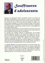 Souffrances d'adolescents - 4ème de couverture - Format classique