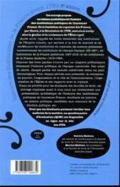 Histoire des institutions de la France avant 1789 (3e édition) - 4ème de couverture - Format classique