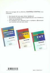 Controle Continu ; Physique-Chimie ; 2nde - 4ème de couverture - Format classique
