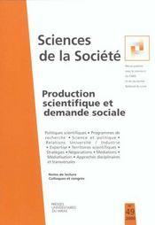 Production Scientifique Et Demande Sociale - Intérieur - Format classique